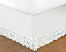 WHITE CROCHET Twin Full Queen King BEDSKIRT : COTTAGE VINTAGE BED SKIRT RUFFLE