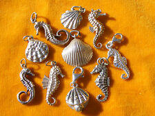 VARIOUS VINTAGE STERLING SILVER CHARM SHELL & SEAHORSE