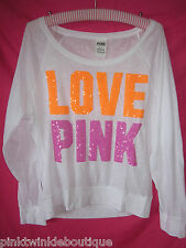 Nwt Victorias Secret Sequin Neon Bling T Shirt Top Slouchy Blouse Top LoVE PiNK