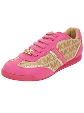 NEW Girl's Michael Kors Signature MK Gold Pink FUCHSIA Shoes Sneakers Alexia