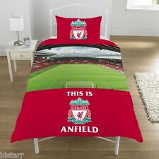 LIVERPOOL SINGLE BED DUVET QUILT COVER SET STADIUM DESIGN LFC ANFIELD FOOTBALL
