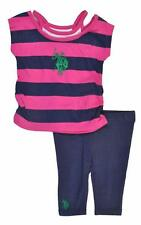 US Polo Assn Infant Girls Striped Top 2pc Legging Set Size 12M 18M 24M $32