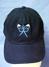 Blue Awareness Ribbon Butterfly Hat Navy Baseball Cap Colon Cancer Child Abuse