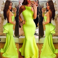 Women Full Length Gown Maxi Low Open Back Ruffle Trumpet Mermaid Prom Dress
