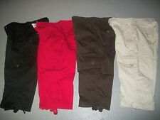 LEE CAPRI CROP CARGO PANTS JEANS WOMENS SZ 10 M BLACK BROWN KHAKI OR RED EUC