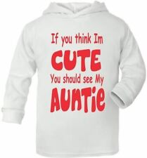 Think I'm Cute See My Auntie Cute Present Baby New Born Gift  Supersoft Baby Hoo