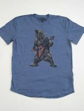 GRIZZLY AXE GUITAR BEAR BLUE LUCKY BRAND JEANS Shirt TEE TSHIRT T NEW ROCK ROLL