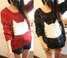 New Women long sleeve Loose Knit Sweater Cat Printed Knitwear pullovers Tops
