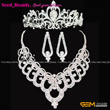 Wedding Bridal Princess Austrian Crystal Tiara  Crow Necklace Earrings Sets