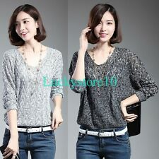 Casual Women Batwing Long Sleeve Hollow Knitted Blouse Pullover Sweater Thin Top