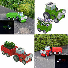 Solar Powered Garden Tractor LED Headlight Light Lamp Trailer Planter Flower Bed