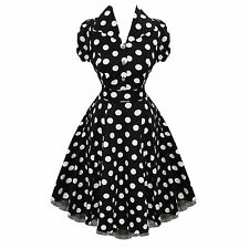 Robe Patineuse Swing Années 50 Rockabilly HEARTS AND ROSES Pois noir blanc
