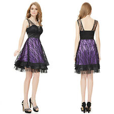 Fashion Purple Black Rhinestones Lace Cocktail Dresses 03192