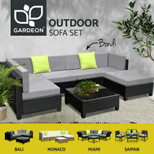 Black/Brown Outdoor Furniture Wicker PE Rattan Set Garden Lounge Sofa Setting