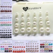 Wholesale Round 12Pair Lots Sweet Faux Pearl Silver Earrings Stud Girls Jewelry