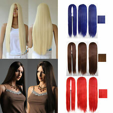 New 75cm Womens Ladies Long Straight Hair Full Wig Heat Resistant Cosplay Party