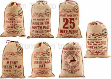 Vintage Design Large Jute Hessian Santa Christmas Xmas Sack Stocking Personalise