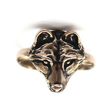 New Solid Silicon Bronze Adjustable Wolf Face Finger Ring Wolves Animal Fashion