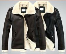 Hot sell Mens winter leather coat fur parka Fleece Jacket trench jacket coat