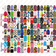 16x SET OF Full Nail Wraps Foils Stickers - Art Decals Glitter Transfers Designs