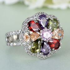 New 18K White Gold Filled Colorful Swarovski Crystal Engagement Ring Jewelry
