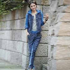Fashion Women's Denim Sports Suit Hoodies Coat Tracksuit Jacket Blouse Top Pants