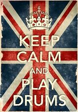 Kcv29 Stile Vintage Union Jack Keep calm play Tamburi Funny poster stampa A2 / A3 / A4