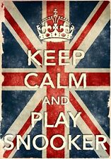 Kcv24 Vintage Union Jack Keep calm play Snooker DIVERTENTE poster stampa A2 / A3 / A4