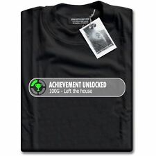 Gamers Achievement Unlocked - Left The House 100G Gaming Black Mens T-Shirt Top