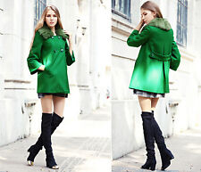 Gorgeous Women's Double Breasted Detachable Furry Loose Wool Blend Thick Jackets
