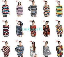 Casual Women Striped Plaids Floral Long Sleeve Knitwear Sweater Blouse Loose Top