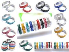 New Fashion Charms Punk Rock Crystal 2-Row Pave Titanium Steel Noble Rings