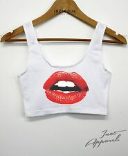 Red Lips American Apparel Crop Tank Top Flirt Beach Holiday Club Kiss Sexy Shop