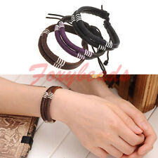 Men Women Cool Tribal Genuine Cow Leather Braided Rope Surfer Wristband Bracelet