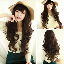 Long Curly Wavy Brown hair women's wave cosplay wigs lady party full wigs +Cap