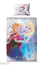 DISNEY FROZEN DUVET COVER BED SET CRYSTAL ELSA ANNA OLAF REVERSIBLE KIDS GIRLS