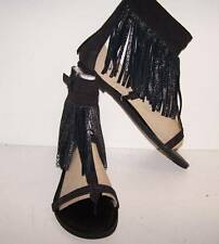 9 10 Koolaburra BoHo Thong Sandals Ankle Wrap Fringe Venus Black Suede Strappy