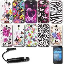 Printed Gel Cover Silicone Case + Screen Protector + Stylus For HTC Desire 310