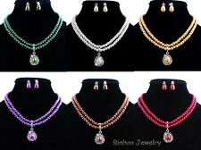 Fashion Wedding Jewellery Set White Pearl & Crystal Chain Necklace Earrings 2018