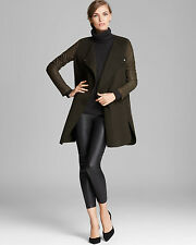 NWT VINCE Leather-Sleeved Double-Face Wool Coat Retail: $745