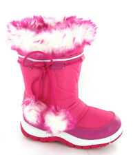 Girls Winter Warm Fur Lined Snow Ski Style Moon Fashion Velcro Boots Size 6-2