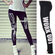 2014 New Sexy Machine Gun/Work Out Print Black Soft Cotton Leggings Tights Pants