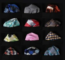 PMC Check Dot Floral Men Silk Satin Pocket Square Hanky Wedding Handkerchief