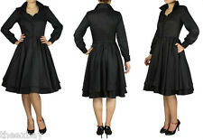 50's Retro BLACK PinUp Rockabilly PinUp Swing LUCY Dress DOUBLE SKIRT SZ 6-28