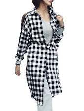 Korean Style Plaids Pattern Multi Pockets Loose Tunic Shirt for Women