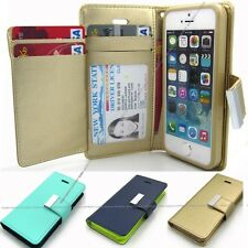 Pu-Leather ID Wallet case Chrome magnet cover+film for iPhone 5 5S/Galaxy/LG