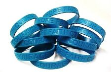 Teal Awareness Bracelets 12 Piece Lot Silicone Wristband Jelly Cancer Cause New