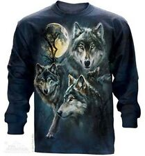 The Mountain Moon Wolves Collage Long Sleeve Wolf Tee Shirt
