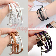 Fashion Leather Suede Multi Wrap Silver Infinity Cross Love Charms Bracelet FB