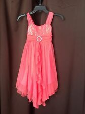 BONNIE JEAN Girls Dress Coral with Sparkles and Sequins